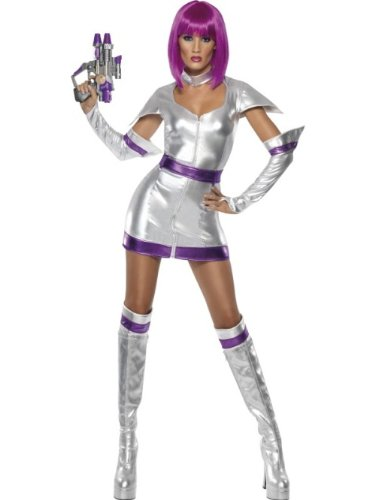 Smiffys Costume Fever de voyageur de l'espace, avec robe, ceinture, menottes et surbotte - M