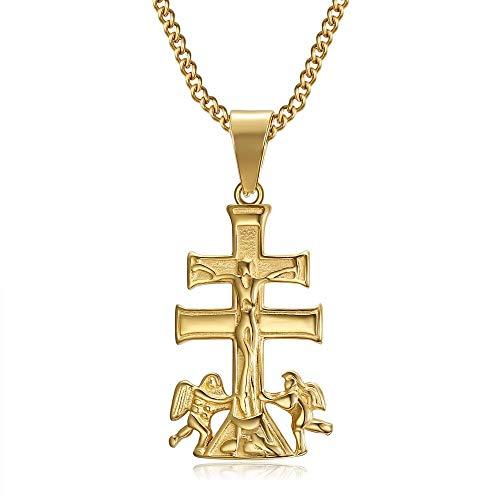 BOBIJOO Jewelry - Pendentif Collier Croix de Caravaca de la Cruz 32mm Acier Or Plaqué Doré Chaîne