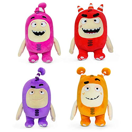"Oddbods Plush Toys for Kids - Set of Four Characters - Fuse (Red), Newt (Pink), Jeff (Purple), and Slick (Orange) Soft Stuffed Plush Toys for Boys and Girls, Adorable Gift for Children, 12"" Tall"