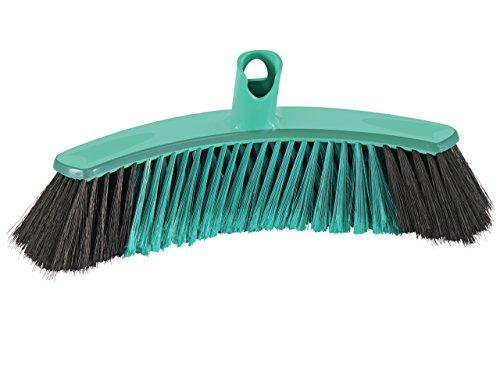 Leifheit Allroundbesen Xtra Clean Collect 30 cm, X-Borsten für gründlicheres Fegen, Kehrbesen mit Borsten aus Kunststofffaser, Feger ohne Stiel, Laminatbesen mit Sichelform und Click-System