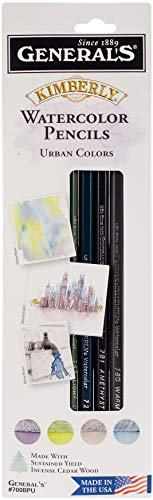 General Pencil Kimberly Watercolor Pencils 4/Pkg, Urban