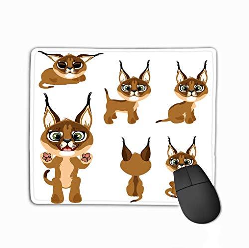 Muiskussen, uniek bedrukte muismat ontwerp Cartoon bruin Kitten Lynx verschillende Poses stijl witte achtergrond Animatie spellen
