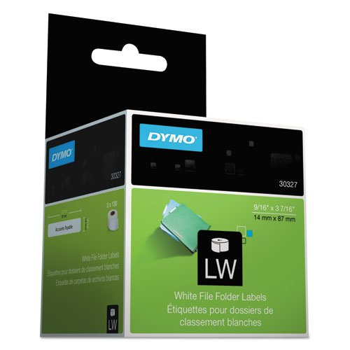 Dymo Corporation Products - File Folder Labels, 9/16amp;quot;x3-7/16amp;quot;, 130 Labels/RL, 2RL/BX, White - Sold as 1 BX - White File Folder Labels print directly from the roll for simple use. Print labels singly or in a batch. Compatible with DYMO LabelWriter printer EL40, EL60, CoStar LabelWriter XL, 300, 310, Turbo and CoStar LabelWriter XL Plus, Turbo, 320, 330, 330 Turbo, 400, 400 Turbo, Twin Turbo, DuoTurbo and Seiko SLP 120, 240, Pro, EZ30, and Plus.