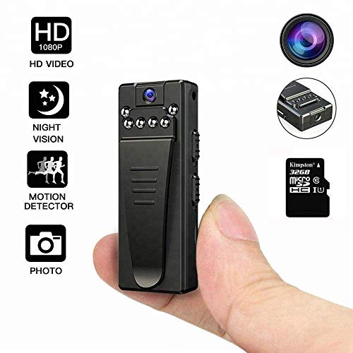 DEXILIO Mini Body Camera, Portable HD 1080P Wireless Wearable Video Recorder with Clip/Night Vision/Motion Detection,Small Security Spy Cam for Home and Office (with 32GB Card)