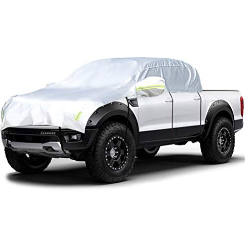 Konnfeir Half Car Cover with Cotton All Weather Car Body Covers Outdoor Indoor for All Season Waterproof Windproof Dustproof UV Resistant Snowproof Universal Car Half Cover (Fit Pickup Crew Cab)