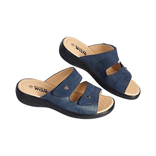 wonderwalk Bequem-Pantolette, Sandalette, Sommerschuhe, Klettverschluss, Hausschuhe, Damenschuhe, Luftlöcher, 3,5 cm Absatzhöhe, blau