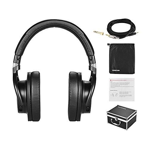 ammoon TAKSTAR PRO 82 Auricular Monitor Dinámica Sobre Oreja Estudio Profesional para Grabación Vigilancia Música Apreciación Jugando Juego con Caja de Aleación de Aluminio