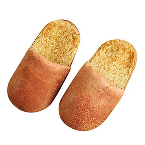 Gaowen Unisex Autumn Winter Warm Slippers Home Creative Plush Bread Bun Plush Cotton Shoes (Brown, M)