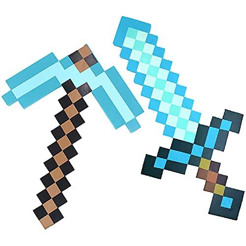 ダイヤモンドソード、キッズナイトドレスアップアクセサリーセット、EVAフォームソード、つるはし、ピクセルアックス、シールド、子供用ソフトプレイおもちゃ、Minecraftロールプレイング子供のおもちゃ-Blue||A