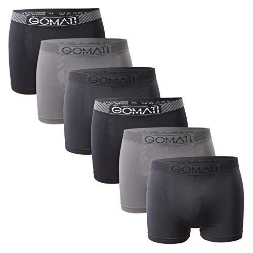 Gomati Herren Seamless Pants (6er Pack), Nahtlose Boxershorts aus Microfaser-Elasthan - Grey Tones M