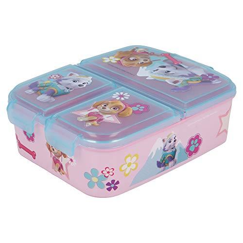 Stor PAW Patrol Girl | Brotdose mit 3 Fächern für Kinder - Kids Sandwich Box - Lunchbox - Brotbox BPA frei
