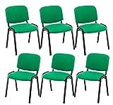 CLP 6er Set Besucherstuhl Ken Stoff I Stapelstuhl Mit Robustem Metallgestell I Polsterstuhl Mit Rückenlehne, Farbe:grün