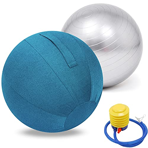 LYQCZ Bola De Yoga para Adultos Pelota Asiento Silla con Cubierta Funda Y Asa Incluye Pelota De Ejercicio BombíN Inflador, para Parto Y Embarazo,Yoga, Fitness Bola(Color:Blue Gray,Size:55cm)