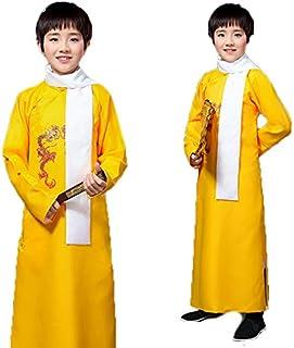 なりきり コスプレ お芝居 子供用 大人用相声チャンパオ 長袍 中国漫才 お笑い ハロウィン コスチューム イエロー 150サイズ
