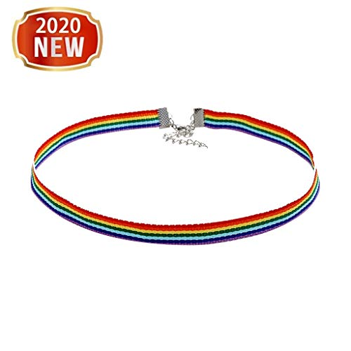 Rainbow Chokers - Grosgrain Ribbon Necklace Neckband, Colorful Short Clavicle Chain - Ladies Women Rainbow Pride Choker Jewelry Sets for Gay Lesbian LGBT for Engagement, Parades, Promise Gift (RB)