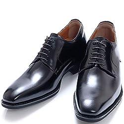 [北嶋製靴工業所] シークレットシューズ ビジネス メンズ 6cm 外羽根 プレーン 牛革 日本製 紐 革靴 冠婚葬祭 就活 1931