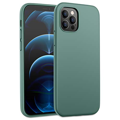 DTTO Funda para iPhone 12 Pro Max, a prueba de golpes, silicona [serie romance] [protección mejorada para cámara y pantalla] con cojín de panal de abeja para Apple iPhone 12 6.7' 2020, color verde