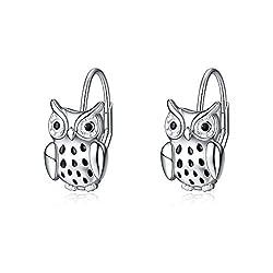 Owl Dangle earring In Sterling Silver With Rhinestone