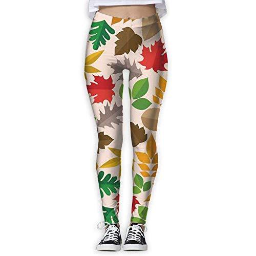 Ewtretr Yoga Pilates Hosen Fitnesshose für Damen, Maple Leaves Printed Leggings Full-Length Yoga Workout Leggings Pants