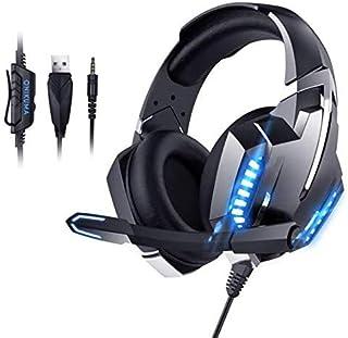 LETTURE Auriculares para Juegos Control del Volumen Audifonos Gaming con Cable, Auriculares para Jugadores con Micrófono y luz LED Compatible con PC/Xbox One/Switch/Laptop (Blue)