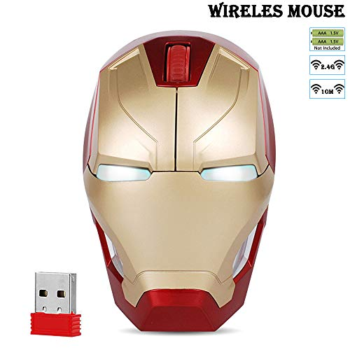 Cool Wireless Mouse Iron Man Black Panther Star Lord Ant Man Tree Man Gaming Mice with USB Unifying Receiver 1200 DPI for PC and Laptops (Iron Man Gold)