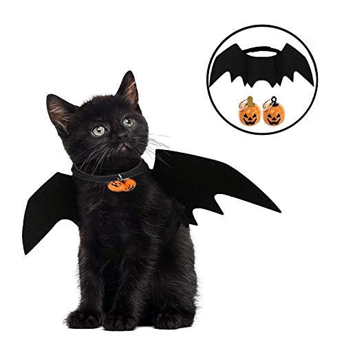 JIASHA Katze Bat Wings Kostüm, Halloween Katze Kleidung, Pet Hund Bat Wings Katze Fledermaus Kostüm,Katze Fledermaus Kostüm, Haustier Fledermausflügel mit 2Pcs Pumpkin Bell