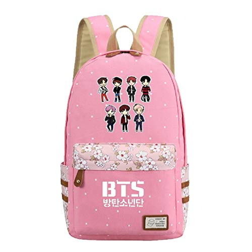 JUSTGOGO Korean Casual Backpack Daypack Laptop Bag College Bag Book Bag School Bag (Pink)
