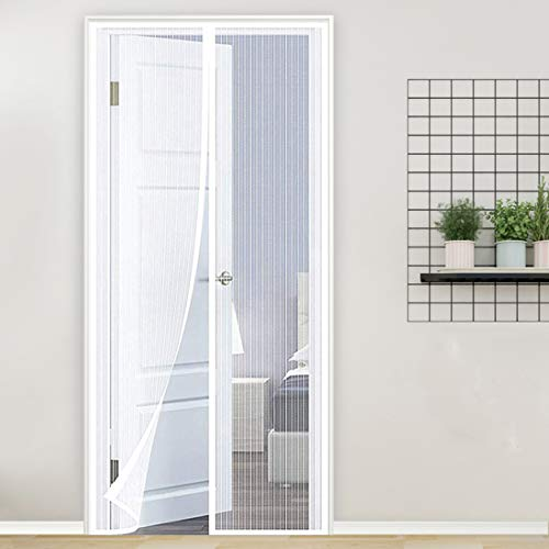 GUOGAI Cortina Mosquitera Magnética 85x205cm(33x81inch) Mosquiteras Enrollables Evita el Paso de Insectos Fácil de ensamblar para Sala de Estar Balcón, Blanco