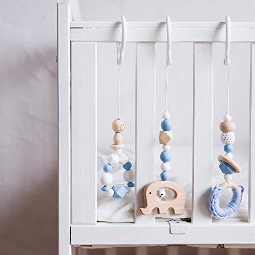 Mamimami Home 3pc Baby Kunststoff Schnalle Blauer Elefant Silikon Perlen Achteckige Perlen Baby Play Gym Anhänger Baby Spielzeug
