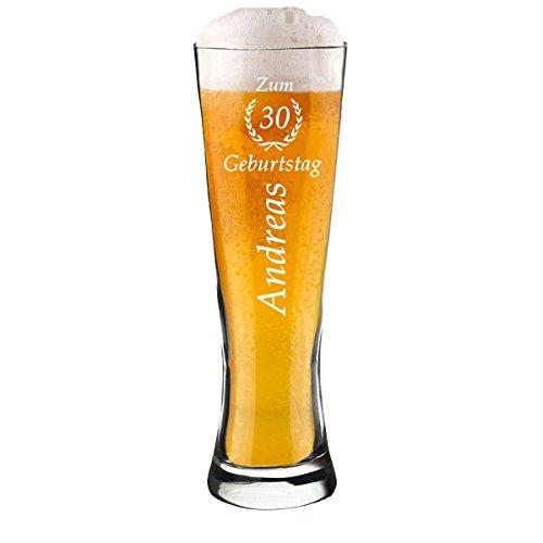 polar-effekt Modernes Weizenbierglas Personalisiert mit Gravur - Weizenglas - Geschenk-Idee zum Geburtstag - Motiv Jubiläum Ährenkranz 0,5l