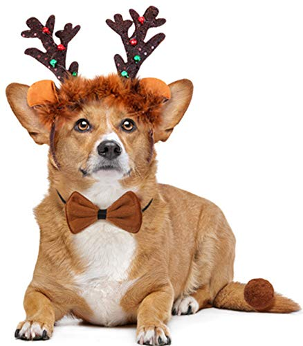 Reindeer Costume for Dogs,Christmas Dog Reindeer Antlers Headband Tail and Pet Bow Tie Collar