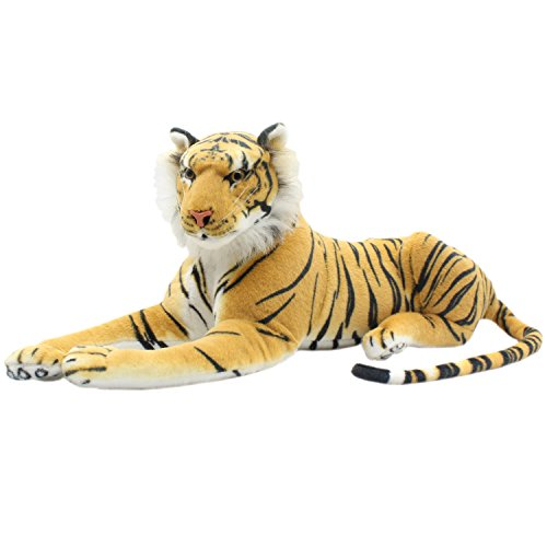 TAGLN Large Stuffed Animals Tiger Toys Plush Big (Brown Lying, 27 Inch)