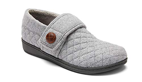 Vionic Women's Indulge Jackie Flannel Slip On Slipper- Comfortable Spa House Slippers that include Three-Zone Comfort with Orthotic Insole Arch Support, Soft House Shoes for Ladies Light Grey 6 Medium US