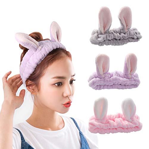 3 Stück Elastische Haarband Kosmetik Stirnband Haarbänder für Frauen und Mädchen Haarreifen Stirnbänder mit Hasen Ohr Haarschmuck für Make-Up Dusche Sport besbomig