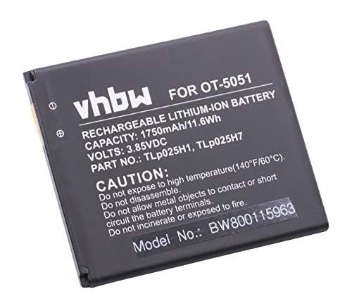 vhbw Akku kompatibel mit Alcatel One Touch OT-5051, OT-5051X, Pop 4, Pop 4 LTE Handy Smartphone Handy (1750mAh, 3,8V, Li-Ion)