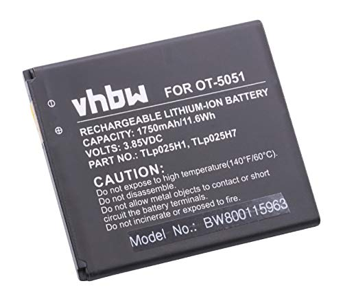 vhbw Li-Ion batería 1750mAh (3.8V) para móvil Smartphone teléfono Alcatel One Touch OT-5051, OT-5051X, Pop 4, Pop 4 LTE