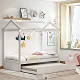 Product Image of the Twin Daybed with Trundle, Wood Twin Size House Bed/Toddler Bed for Kids, Bedroom...