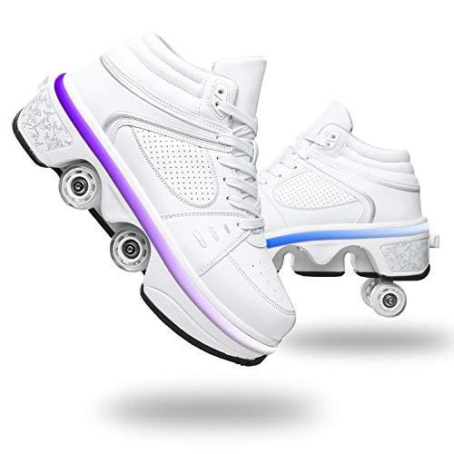 Pinkskattings@ Zapatillas con Ruedas para Niños 7 Colores Led Luz Luminosas Zapatos Doble Rueda Patines Calzado Deportivo Al Aire Libre Niño Y Niña Gimnasia