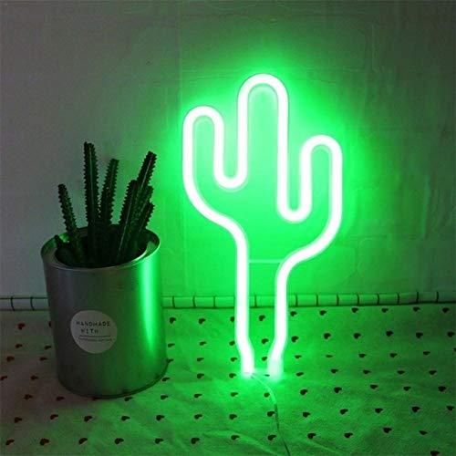 Luces de neón LED de palmera, cactus y árbol de Navidad, lámpara USB para decoración de dormitorio, fiesta de cumpleaños, vacaciones, decoración del hogar (color de la pantalla de la lámpara: cactus)