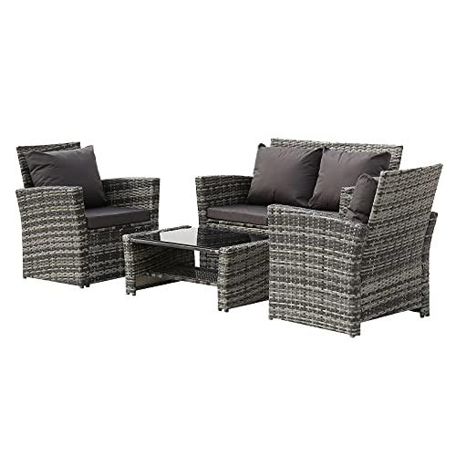 Combinazione di divani in rattan, 4 pezzi, set da pranzo da esterno in vimini di polietilene, sedie in vetro, cuscini da tavolo per patio, giardino, veranda