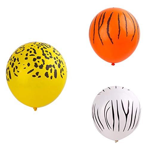 JVSISM 60 Piezas Globos con Estampado Animal de la Selva Leopardo Cebra Manchas Globos de LáTex Tema del ZoolóGico de la Selva para la DecoracióN de la Fiesta de CumpleaaOs