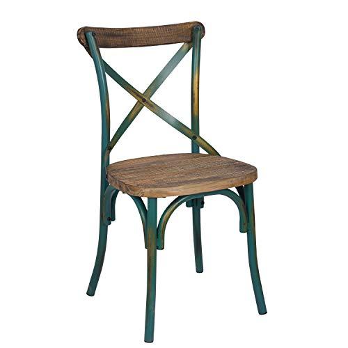 Benzara BM186925 Wooden Side Chair with Metal Frame, Brown and Green BM186925-Silla Auxiliar de Madera con Estructura metálica, Color Verde, Marrón y Azul