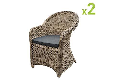 Au jardin de Chloé | Lot de 2 fauteuils en résine tressée Ronde CLEA Osier Naturel