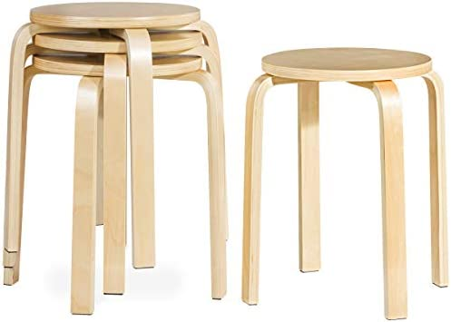 Best COSTWAY 18-inch Bentwood Stools Backless Chairs Round Top Stackable Wood seat for Dinning, Kitchen,