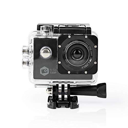 NEDIS Action Cam   720p@30fps   5 MPixel   Impermeabile Fino a: 30.0 m   90 min   Supporti Inclusi   Nero 0.8 m Nero