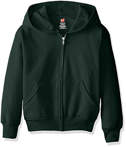 Hanes Boys' Big EcoSmart Fleece Full Zip Hooded Jacket, deep forest1, MEDIUM