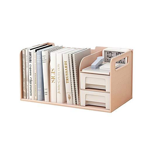 N / A Estantería de escritorio con cajones, estante de almacenamiento de escritorio, organizador simple para objetos pequeños, fácil acceso, no requiere montaje (color: rosa)