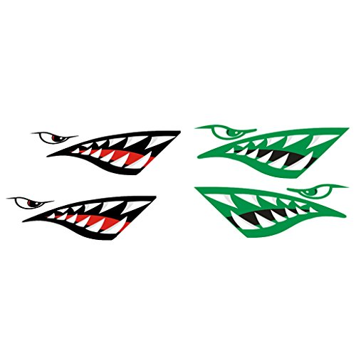 Gazechimp 4 Pieces Large Shark Teeth Mouth Decal Stickers for Kayak Canoe Fishing Boat