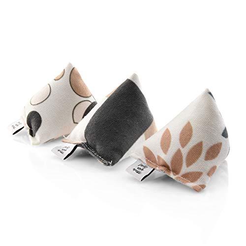 CanadianCat Company ® | 3er Set Mini Pyramiden Brown-Grey | Schmusekissen mit Katzenminze für Katzen