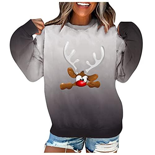 SHOBDW Barato Sudaderas Mujer Pullover Camisa Suéter Deportiva Tops Talla Grande 3D Impresión Casual Degradado Elástico Adolescentes Invierno Mujer Liquidación Venta(Gris,L)